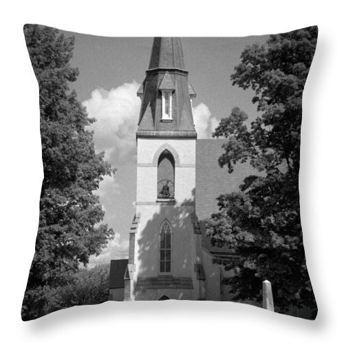 Blacj And White Throw Pillow featuring the photograph Past Congregation by Scott Wyatt