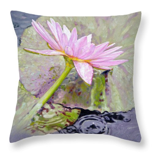 Water Lily Throw Pillow featuring the painting Pastel Beauty by John Lautermilch