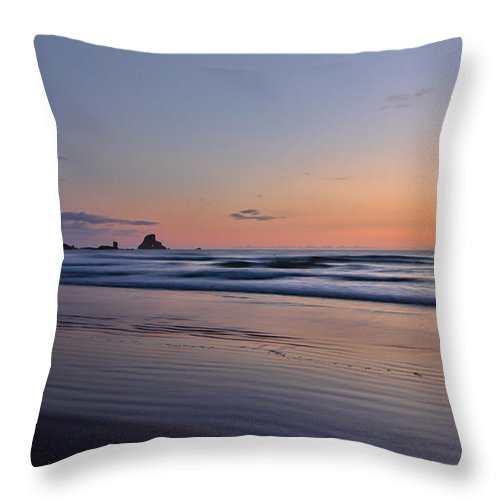 Oregon Throw Pillow featuring the photograph Pastel Coastline by Don Schwartz