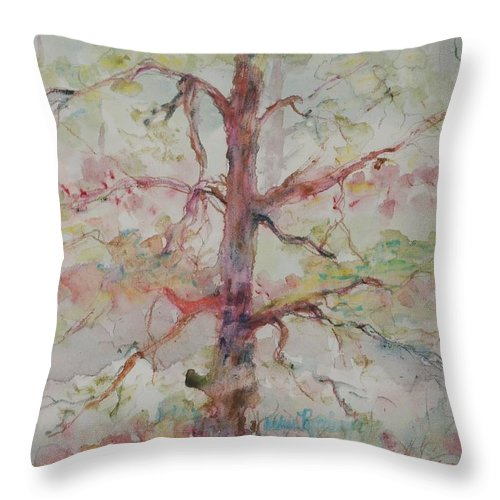 Forest Throw Pillow featuring the painting Pastel Forest by Nadine Rippelmeyer