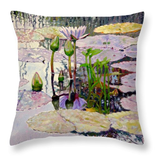 Water Lily Pond Throw Pillow featuring the painting Pastel Light by John Lautermilch