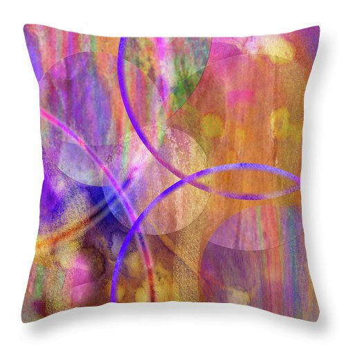 Pastel Planets Throw Pillow featuring the digital art Pastel Planets by John Robert Beck