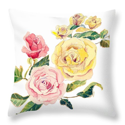Roses Throw Pillow featuring the painting Pastel Roses by Arline Wagner