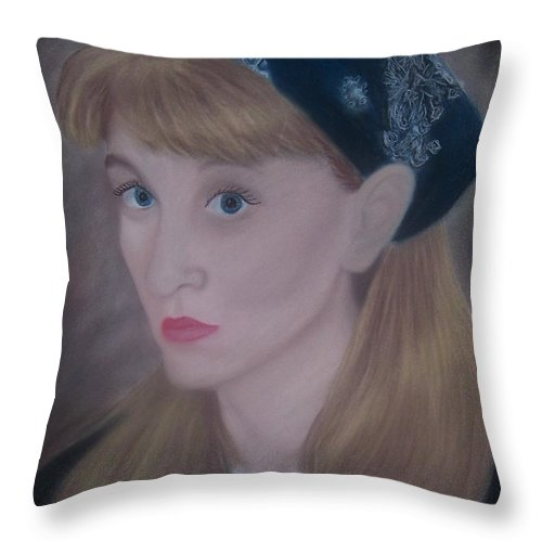 Self Portrait Throw Pillow featuring the pastel Pastel Self Portrait by Emily Young