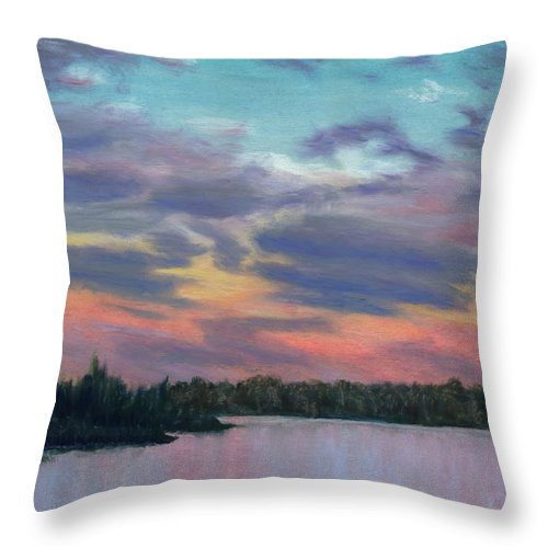 Landscape Throw Pillow featuring the painting Pastel Sunset by Lynn Quinn
