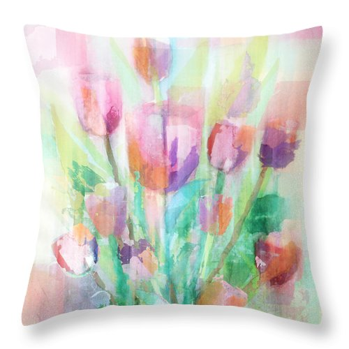 Tulip Throw Pillow featuring the painting Pastel Tulips Collage by Arline Wagner