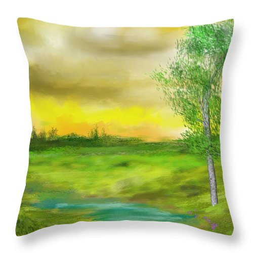 Landscape Throw Pillow featuring the digital art Pastoral by David Lane