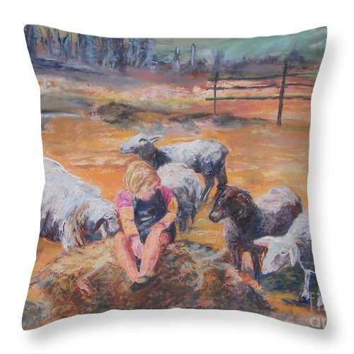 Farmstead Throw Pillow featuring the pastel Pasture Acquaintances by Alicia Drakiotes