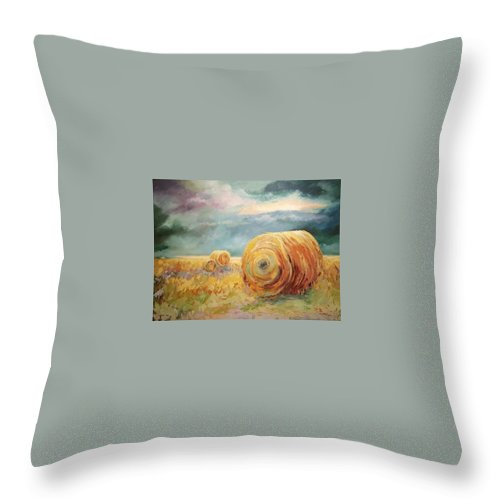 Pasture Landscapes Throw Pillow featuring the painting Pasture Ornament by Ginger Concepcion