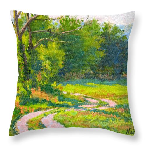 Landscape Throw Pillow featuring the painting Pasture Road by Keith Burgess