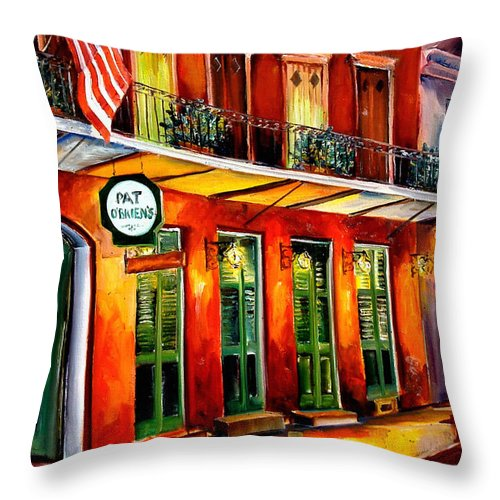 New Orleans Paintings Throw Pillow featuring the painting Pat O Briens Bar by Diane Millsap