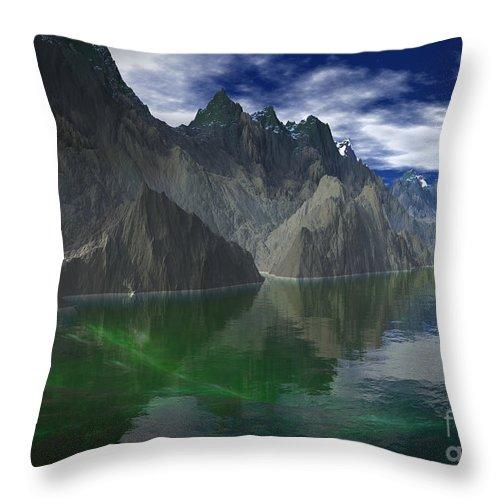 Patagonia Mountain Reflection Throw Pillow featuring the digital art Patagonia Mountain Reflection by Heinz G Mielke