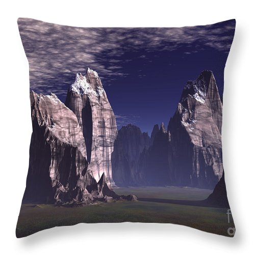 Patagonian Mountain Throw Pillow featuring the digital art Patagonian Mountain by Heinz G Mielke