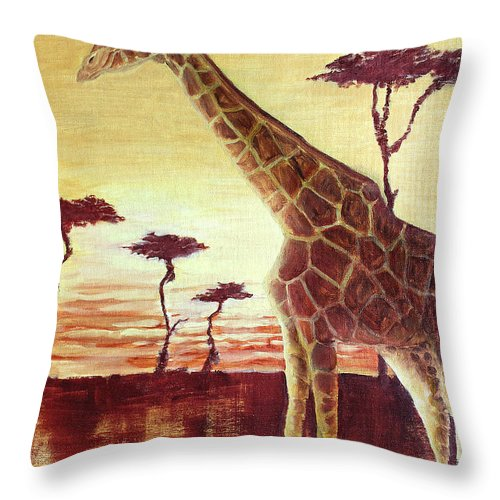 Animal Throw Pillow featuring the painting Patches by Todd Blanchard