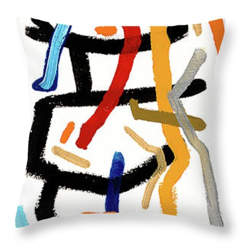 Abstract Throw Pillow featuring the painting Patchwork by Bjorn Sjogren