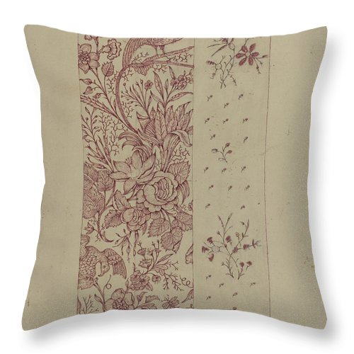 Throw Pillow featuring the drawing Patchwork Quilt by Edmond W. Brown