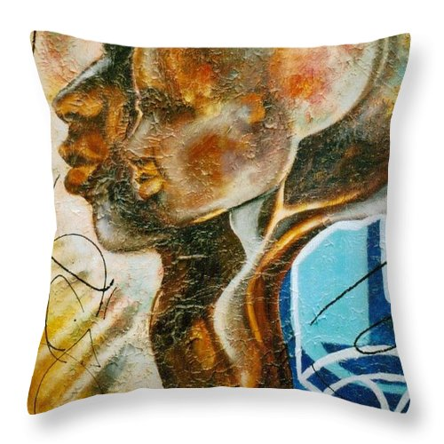 Paternal Throw Pillow featuring the painting Paternal Captivity by Hasaan Kirkland
