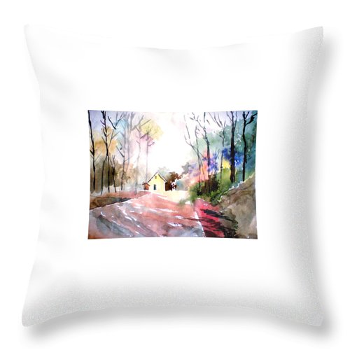 Nature Throw Pillow featuring the painting Path In Colors by Anil Nene