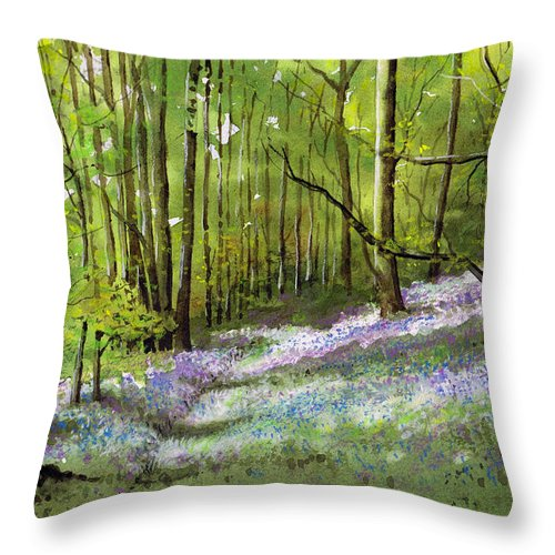 Bluebell Throw Pillow featuring the painting Path Through Bluebell Wood by Paul Dene Marlor