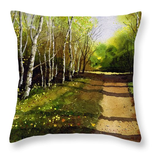 Woodland Throw Pillow featuring the painting Path Through Silver Birches by Paul Dene Marlor