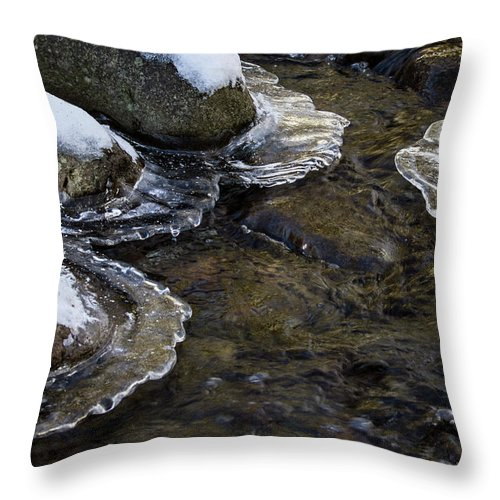 Jean Noren Throw Pillow featuring the photograph Path Through The Ice by Jean Noren