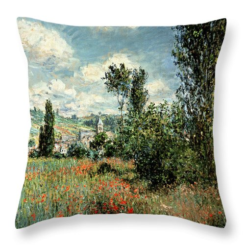 Path Throw Pillow featuring the painting Path through the Poppies by Claude Monet