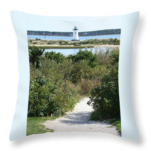 Martha's Vineyard Throw Pillow featuring the photograph Path To Edgartown Lighthouse by Carol Groenen