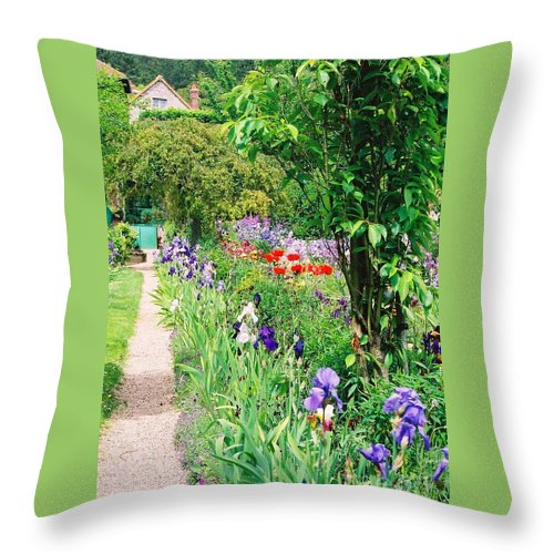 Claude Monet Throw Pillow featuring the photograph Path To Monet's House by Nadine Rippelmeyer