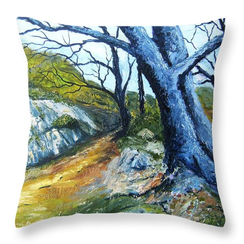 Landscape Throw Pillow featuring the painting Path To Rivendale by Tami Booher