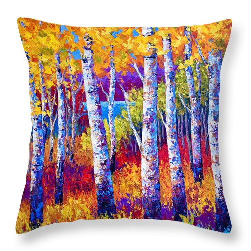 Birch Throw Pillow featuring the painting Path to the Lake by Marion Rose