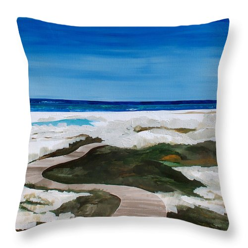 Beach Throw Pillow featuring the painting Path To The Sea by Racquel Morgan