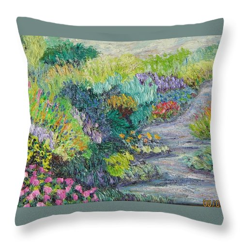Flowers Throw Pillow featuring the painting Pathway Of Flowers by Richard Nowak