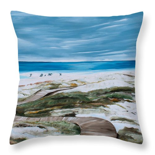 Beach Throw Pillow featuring the painting Pathway by Racquel Morgan