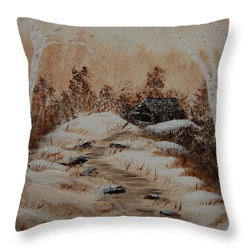 Acrylics Throw Pillow featuring the painting Pathway To Freedom by Laurie Kidd