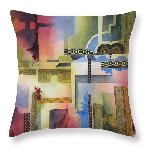 Abstract Throw Pillow featuring the painting Pathways by Deborah Ronglien