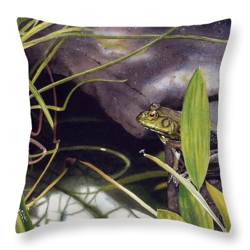 Frog Throw Pillow featuring the painting Patience by Denny Bond