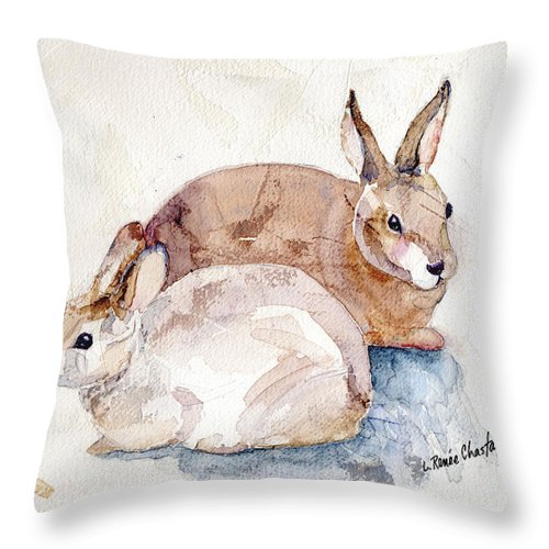Bunnies Throw Pillow featuring the painting Patio Bunnies by Renee Chastant