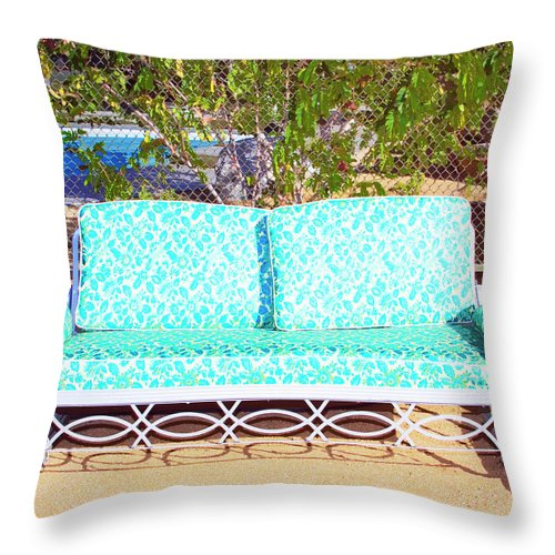 Patio Furniture Throw Pillow featuring the photograph Patio Invitation Palm Springs by William Dey