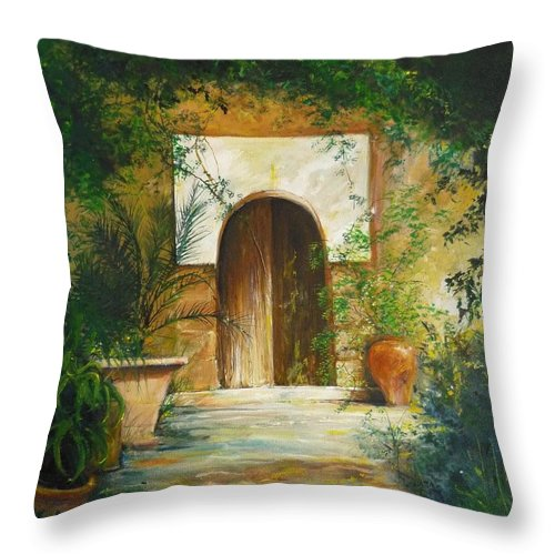 Farmhouse Courtyard Throw Pillow featuring the painting Patio Mallorquin by Lizzy Forrester