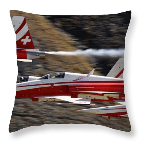 Patrouille Suisse Throw Pillow featuring the photograph Patouille Suisse by Angel Ciesniarska
