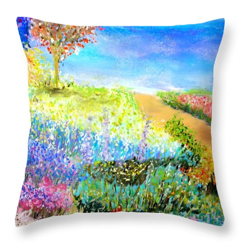 Landscape Throw Pillow featuring the print Patricia's Pathway by Melinda Etzold