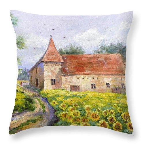 France Throw Pillow featuring the painting Patricks Barn by Barbara Couse Wilson