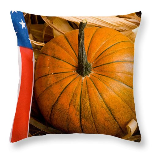 Pumpkin Throw Pillow featuring the photograph Patriotic American Pumpkin by James BO Insogna