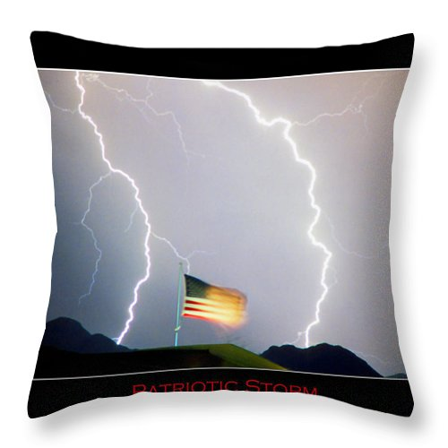 Lightning; Lightening; American Flag; Usa; Americana; Storm; Nature Throw Pillow featuring the photograph Patriotic Storm - Poster Print by James BO Insogna