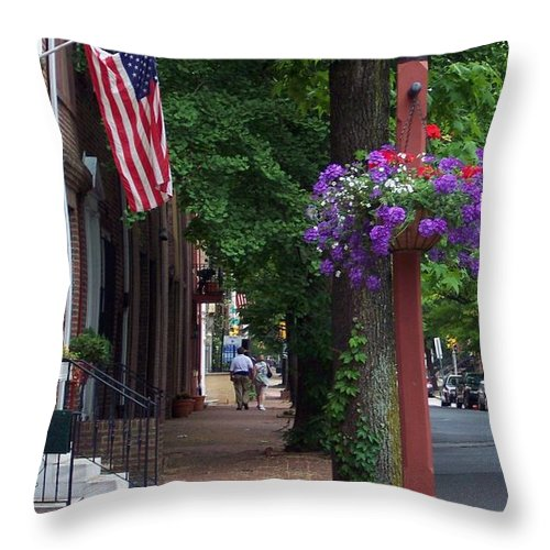 Cityscape Throw Pillow featuring the photograph Patriotic Street In Philadelphia by Debbi Granruth