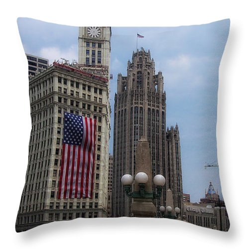 Chicago Throw Pillow featuring the photograph Patriotic View by Donna Blackhall