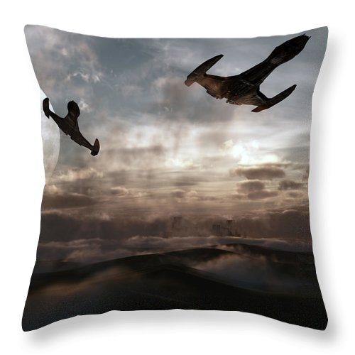 Sci-fi Throw Pillow featuring the digital art Patrol Of Sector 9 by Richard Rizzo
