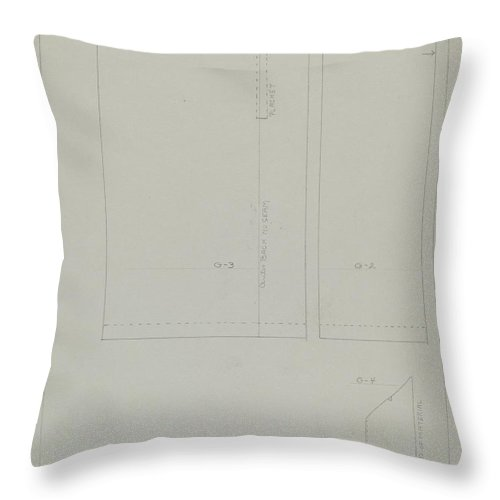Throw Pillow featuring the drawing Pattern For A Dress by Bessie Forman
