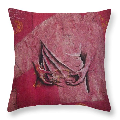 Hands Throw Pillow featuring the painting Pattern Pieces by Rowena Finn