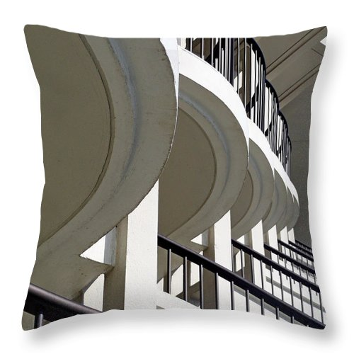 Balconies Throw Pillow featuring the photograph Patterned Balconies by Robert Meyers-Lussier